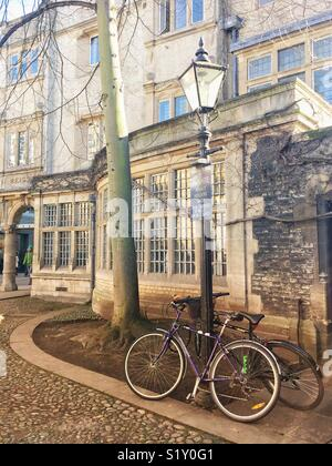Bicycle leaning against an old-fashioned lamppost outside Trinity College, Cambridge - Stock Photo