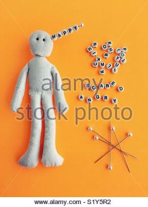 Conceptual: feelings and neurotransmitters. - Stock Photo