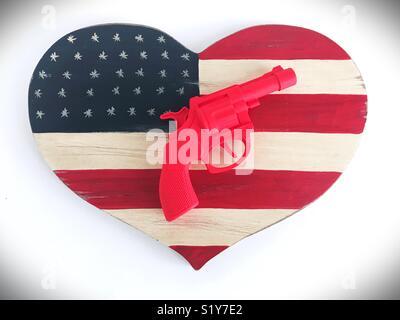 Conceptual: guns in America. - Stock Photo