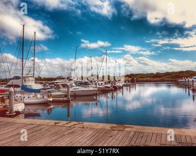 The serenity of the Queenscliff Harbour. - Stock Photo