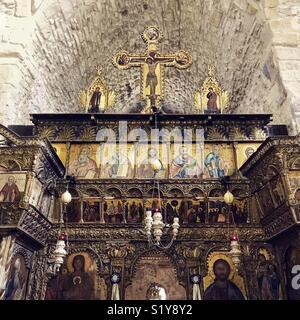 "Inside Panagia Angeloktistis (""Church Built by Angels""), Kiti, Cyprus - Stock Photo"