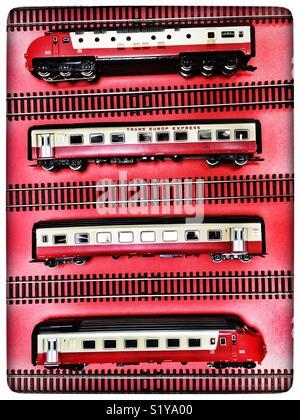 Marklin Trans Europe Express model railway - Stock Photo