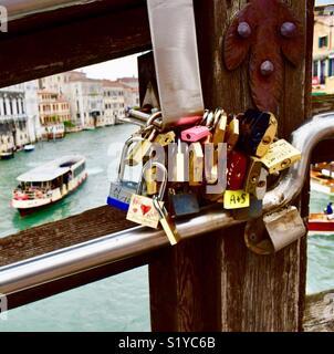 Love Locks on the Academia Bridge Venice - Stock Photo