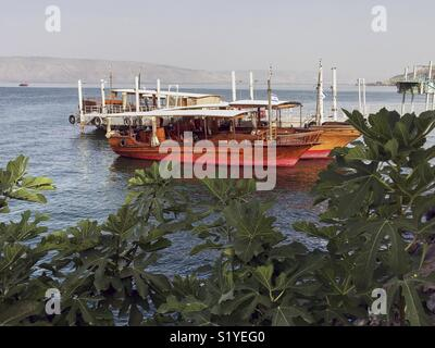 Excursion boats on the footbridge from the lake Genezereth in the north of Israel are waiting for tourists for a - Stock Photo
