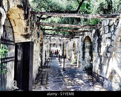 A hallway inside the Alamo in San Antonio, Texas. - Stock Photo