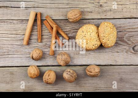 Close up of cookies on a wooden background - Stock Photo