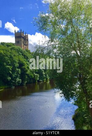 Durham Cathedral overlooking the River Wear - Stock Photo