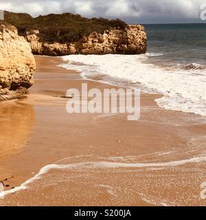 High tide in Algarve, Portugal. - Stock Photo