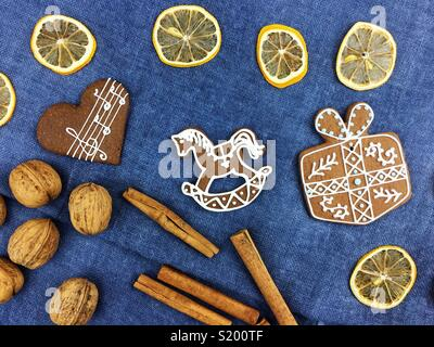 Christmas gingerbread cookies decoration - Stock Photo