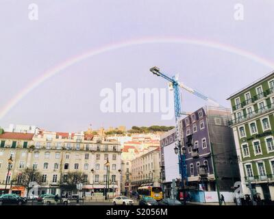 Rainbow at Praca da Figueira in Lisbon Portugal!!! - Stock Photo
