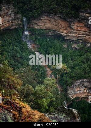 Gordon Falls from Prince Henry Cliff Walk, Leura, Blue Mountains National Park, NSW, Australia - Stock Photo