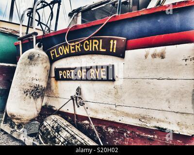 Flower Girl fishing boat in Brighton Marina - Stock Photo