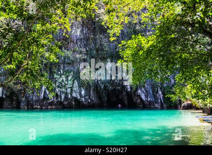 Beautiful lagoon, the beginning of the longest navigable underground river in the world. Puerto Princesa, Palawan, Philippines - Stock Photo