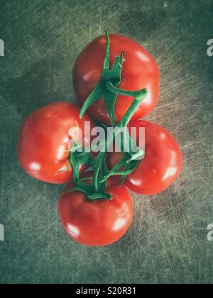 Four fresh picked red tomatoes on the vine on a rustic surface - Stock Photo