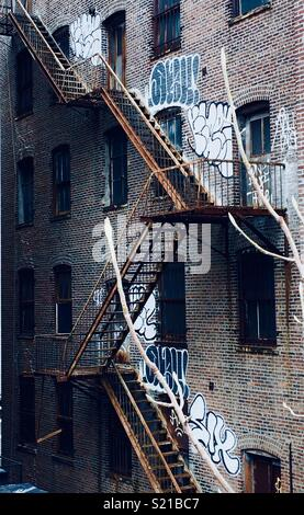 New York fire escape stairs - Stock Photo