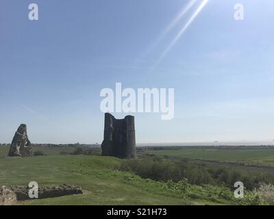 Hadleigh Castle Essex in Spring sunshine big blue sky - Stock Photo