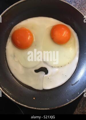 Sad fried eggs - Stock Photo