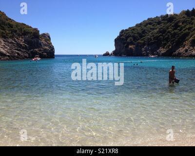 Agios Spiridon Beach, Paleokastritsa, Corfu - Stock Photo