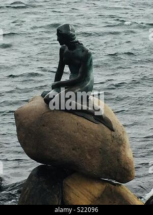 The little mermaid statue  in Copenhagen, Denmark - Stock Photo
