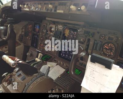 First officer view of flight deck - Stock Photo
