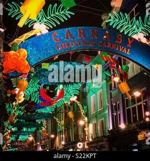 Carnaby street, Christmas 2017 - Stock Photo