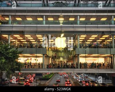 The flagship Apple store in the IFC Mall, Central, Hong Kong Island - Stock Photo