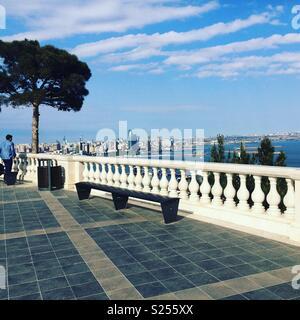 View over the Caspian from Dagustu Park, Baku, Azerbaijan - Stock Photo