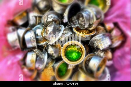 A pile of recycled coffee capsule - Stock Photo