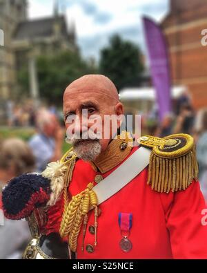 Eccentric old man in Victorian military uniform at the Dickens Festival, Rochester, UK - Stock Photo