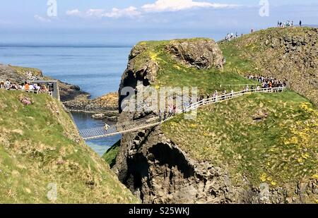 Carrick-a-rede rope bridge - Stock Photo