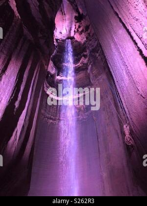 Ruby Falls is a 145 underground waterfall located within Lookout Mountain, near Chattanooga, Tennessee in the United States - Stock Photo