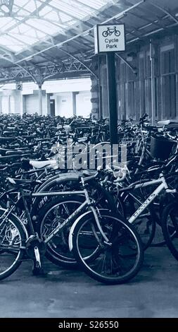 Bicycles at Temple Meads station, Bristol 7 June 2018 - Stock Photo