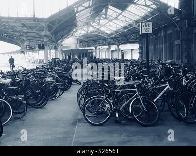 Cycle park on Platform 4 at Temple Meads Railway Station, Bristol 7 June 2018 - Stock Photo