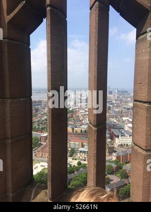 View of Liverpool city from the Anglican cathedral tower, showing liver buildings and the three Graces, Merseyside - Stock Photo