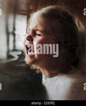Toddler girl screaming during a temper tantrum - Stock Photo
