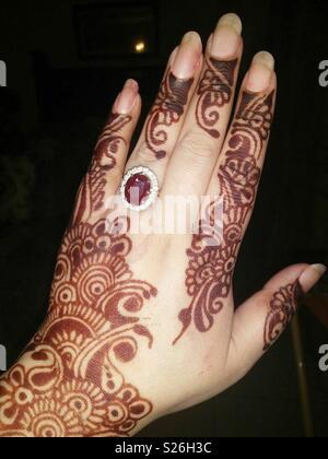 Pakistan Famous Henna Style On Hand Eid Or Wedding Stock Photo