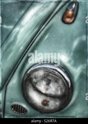 Vintage VW Beetle fender and headlight - Stock Photo