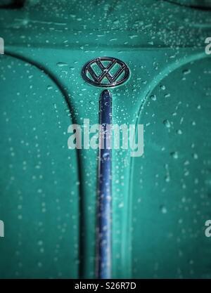 Vintage VW Beetle hood with raindrops - Stock Photo