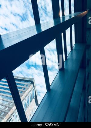 Cleveland, Ohio, USA - June 21, 2018: View looking out of the Miller Pavilion at the Cleveland Clinic, a medical facility known worldwide for its superb medical care. - Stock Photo