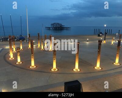 Brighton Pier by night - Stock Photo