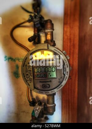 Honeywell water meter fitted by Anglia Water, Suffolk, England. - Stock Photo