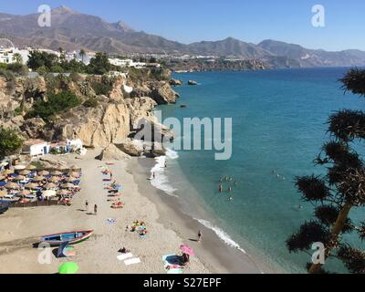 Playa Calahonda viewed from Balcon de Europa, Nerja, Costa del Sol - Stock Photo