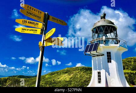 Light House and Road Sign at Cape Reinga, Te Rerenga Wairua, the northwesternmost Point of the Aupouri Peninsula, at the northern end of North Island , New Zealand, Oceania - Stock Photo