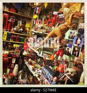 Toy shop in a market in Kam Tin, New Territories, Hong Kong - Stock Photo