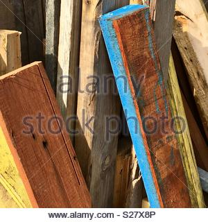 Colourful planks of wood - Stock Photo