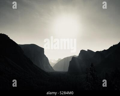 View of Yosemite Valley from Hwy 41 tunnel view. Yosemite National Park, California. - Stock Photo