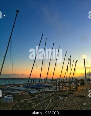 Boats on Brighton beach - Stock Photo