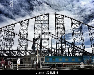 Rollercoaster in Blackpool - Stock Photo