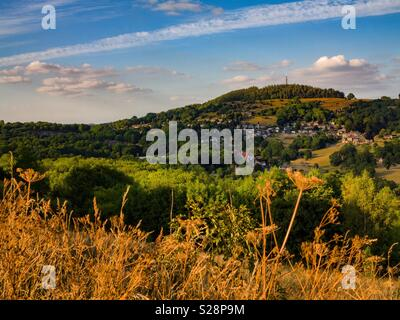 View over the hills near Wirksworth in the Derbyshire Peak District towards Black Rocks England UK - Stock Photo
