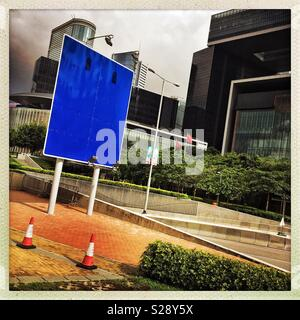 A blank road sign in Admiralty, Central, Hong Kong Island - Stock Photo
